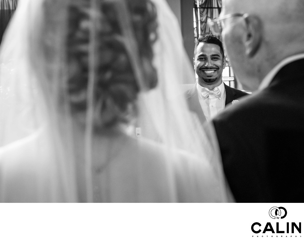 Groom Sees His Bride at Chateau le Parc