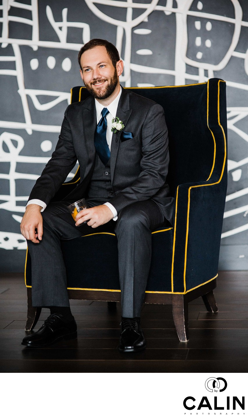 Groom Portrait at His Thompson Hotel Toronto Wedding