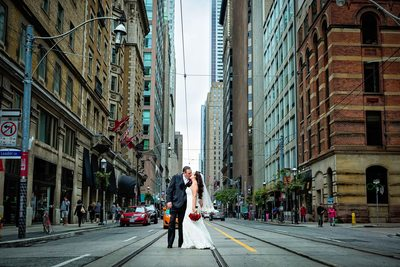 Newlyweds at King Edward Hotel Wedding