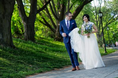 Bride and Groom Walk at Hart House Wedding