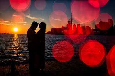 Engagement Photo of Silhouetted Couple