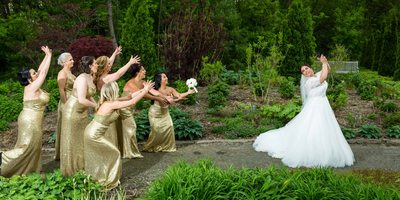 Bride Tosses the Bouquet
