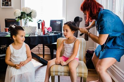 Flower Girls Getting Ready