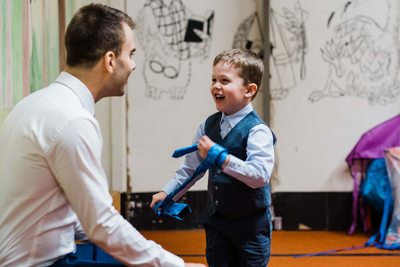Groom Plays With HIs Nephew