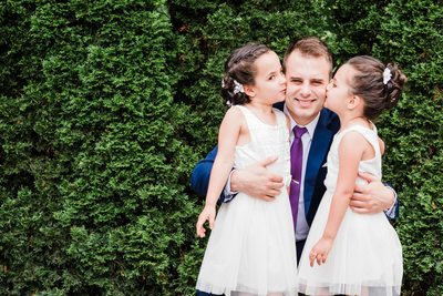 Flower Girls Kiss Groom