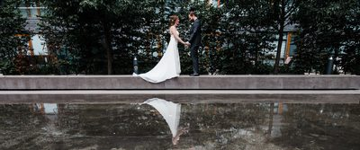 Bride and Groom's First Look at Thompson Hotel Toronto