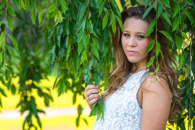 Senior Portraits in the Trees at the Rose Gardens