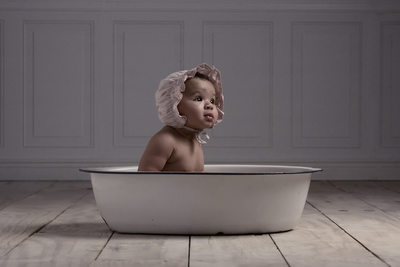Appleton baby portrait of baby in vintage wash tub