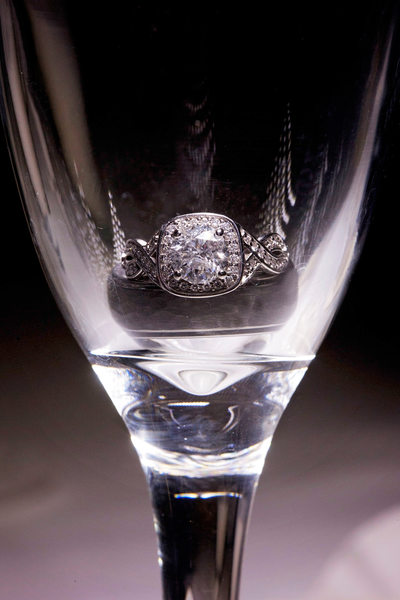 Wisconsin wedding ring in champagne glass