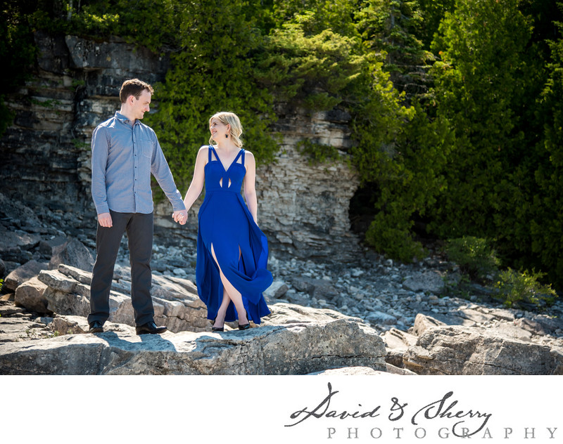 Singing Sands Beach Engagement Photos Near Tobermory