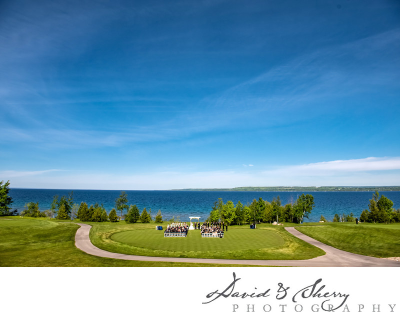 Cobble Beach Wedding Green Ceremony Under Blue Skies