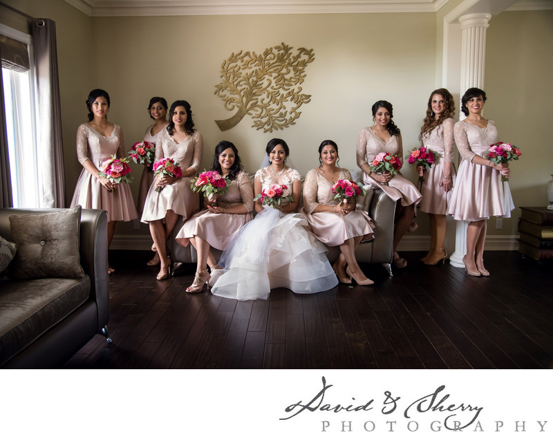 Bridesmaids wedding group photo
