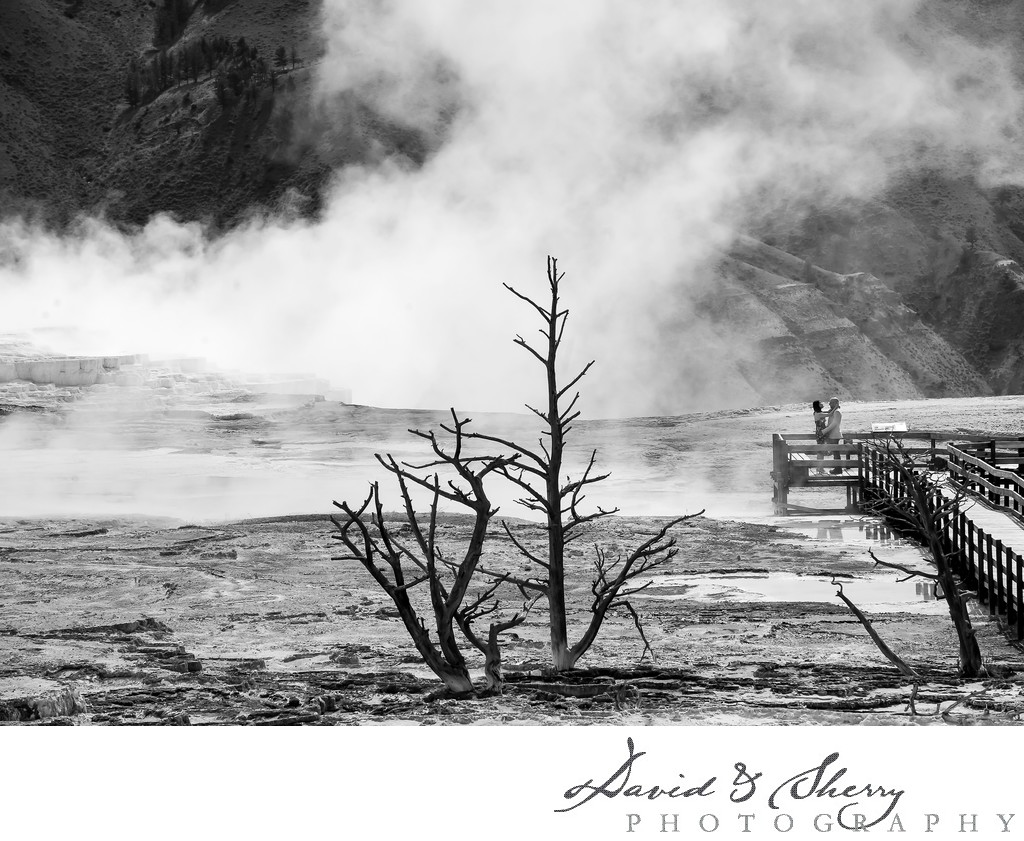 Engagement Photos around the Geysers of Yellowstone