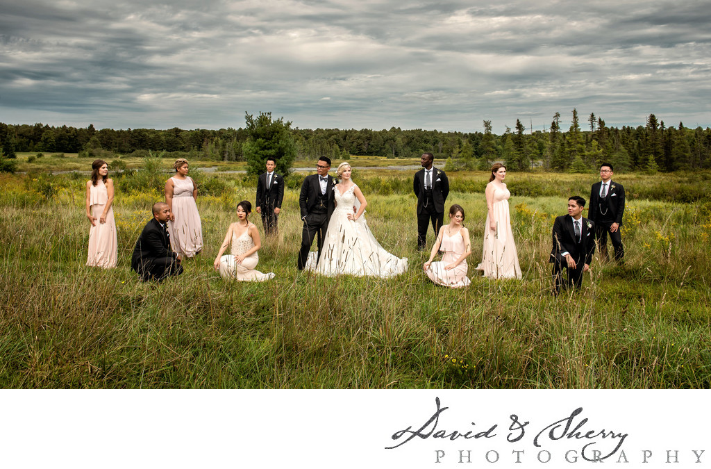 Magazine Style Bridal Party Wedding Photos