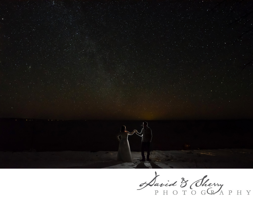 Nighttime Wedding Photos at Serenity Cottage