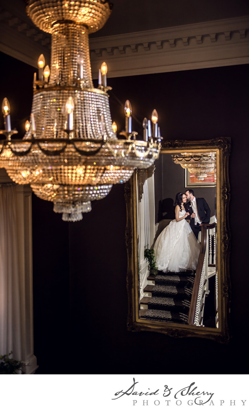 Wedding Photos on the Grand Staircase at Graydon Hall
