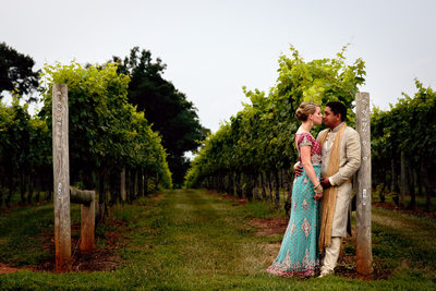 Bride & Groom Moment in Vineyard
