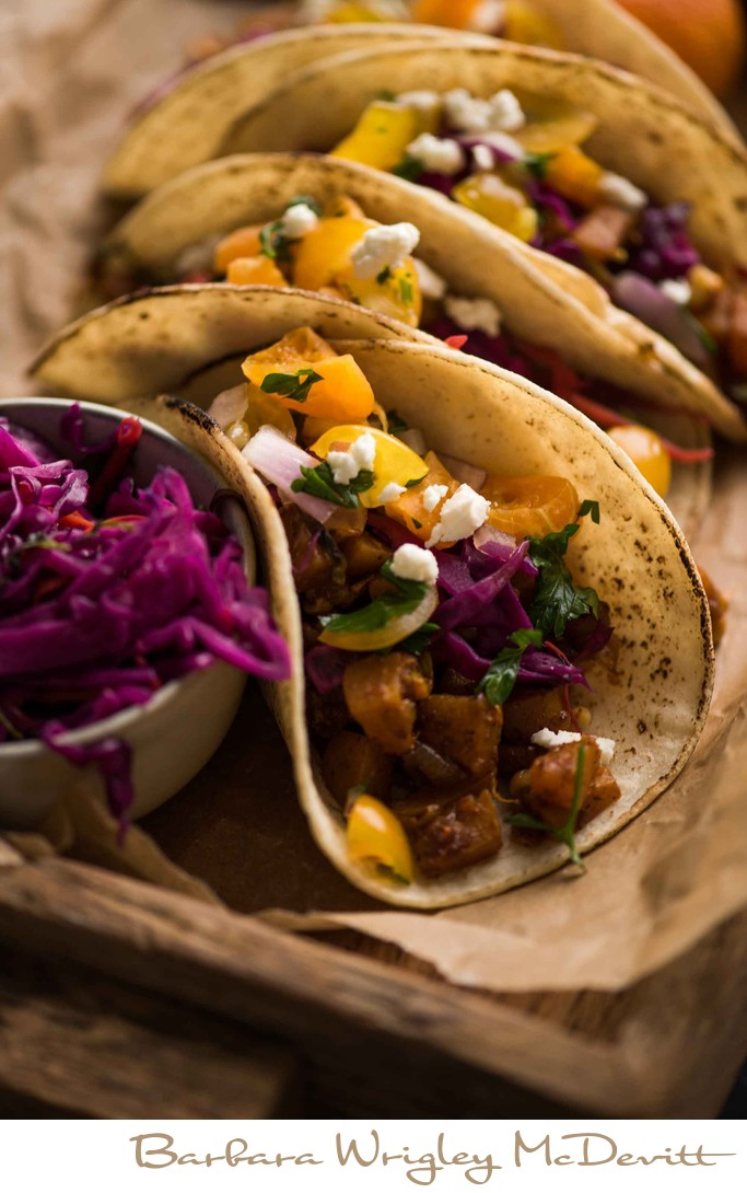 Tacos with pickled red cabbage, sweet potato and feta