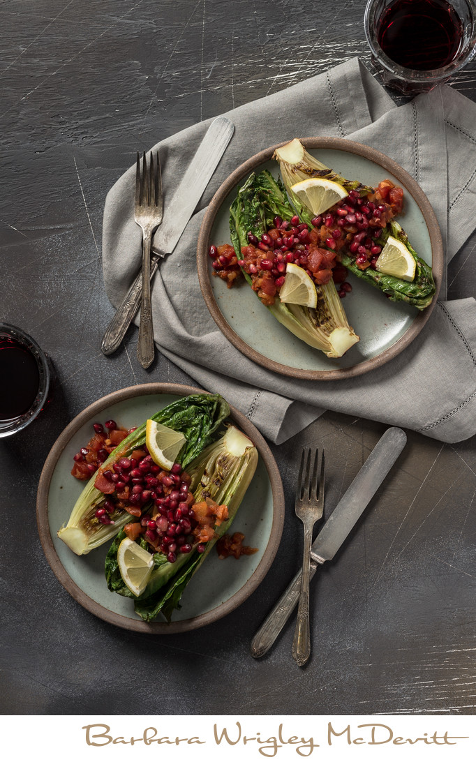 Grilled Romaine with Pomegranate Chipotle Salsa
