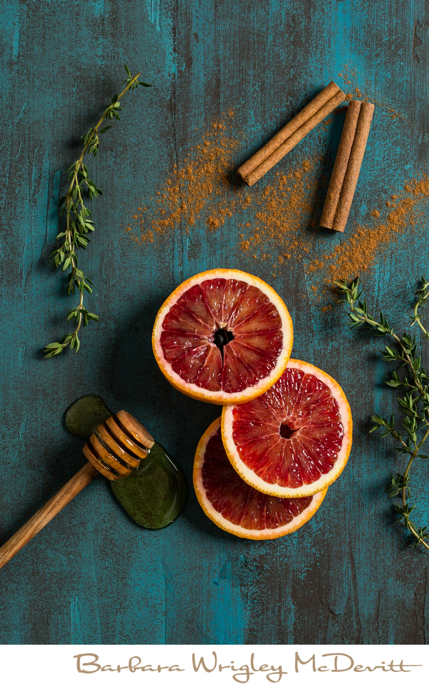 Blood Oranges with Cinnamon and Honey