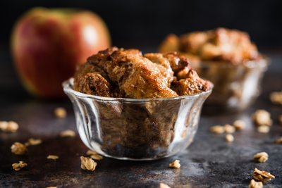 Apple bread pudding with honey