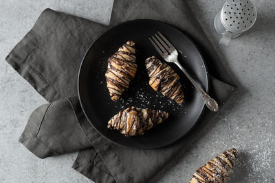 Chocolate covered croissants