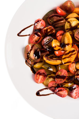 baby heirloom tomatoes with balsamic reduction