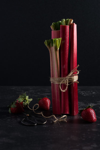 Rhubarb Strawberry Still Life