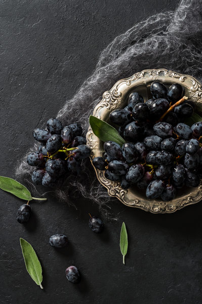 Black Grapes in Silver Vintage Bowl
