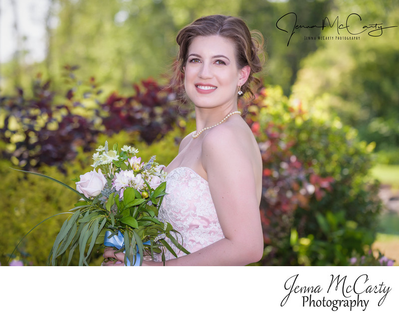 bridal portrait in pink dress in Sandusky, Ohio
