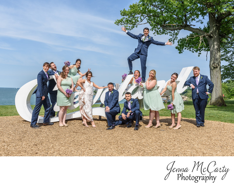 Bridal Party on the Cleveland Sign in Edgewater Park