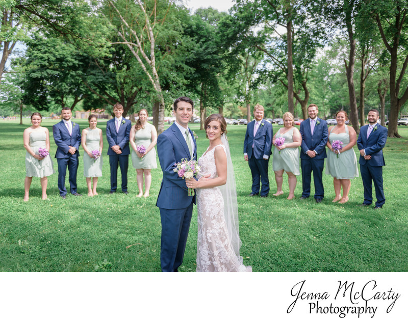 Bridal Party in Edgewater Park in Cleveland, Ohio