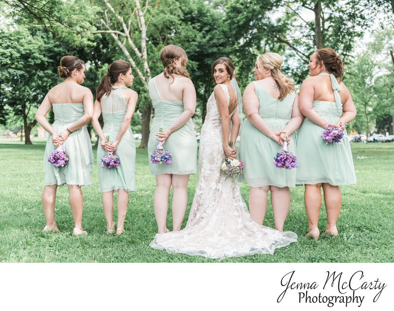 Bride and Bridesmaids in Edgewater Park in Cleveland