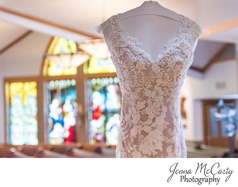 Bridal Gown Hanging in St Raphael's in Bay Village Ohio