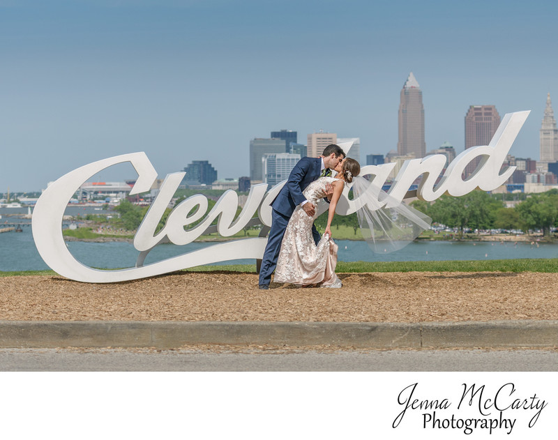 Bride and Groom and the Cleveland Sign at Edgewater