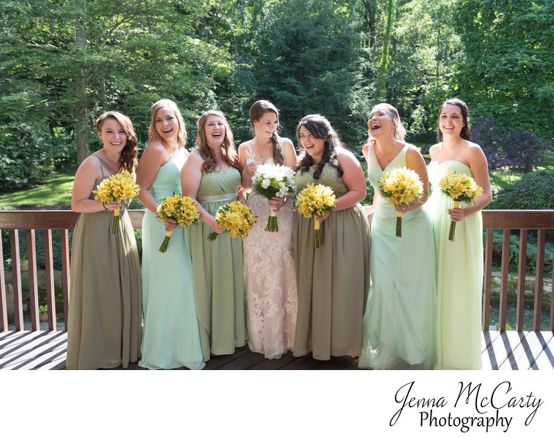 Bridal Party Laughing in Mineral City, Ohio