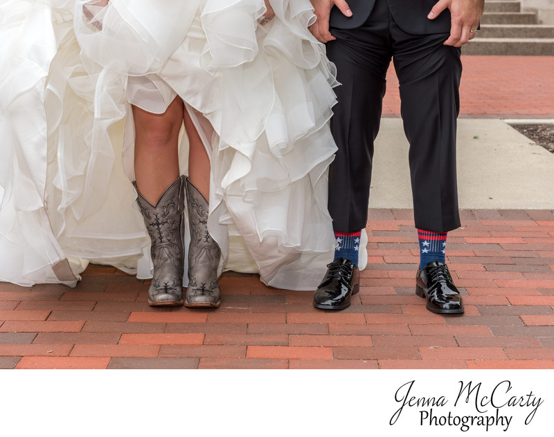 Bride's boots and Groom's Socks in Alliance, Ohio