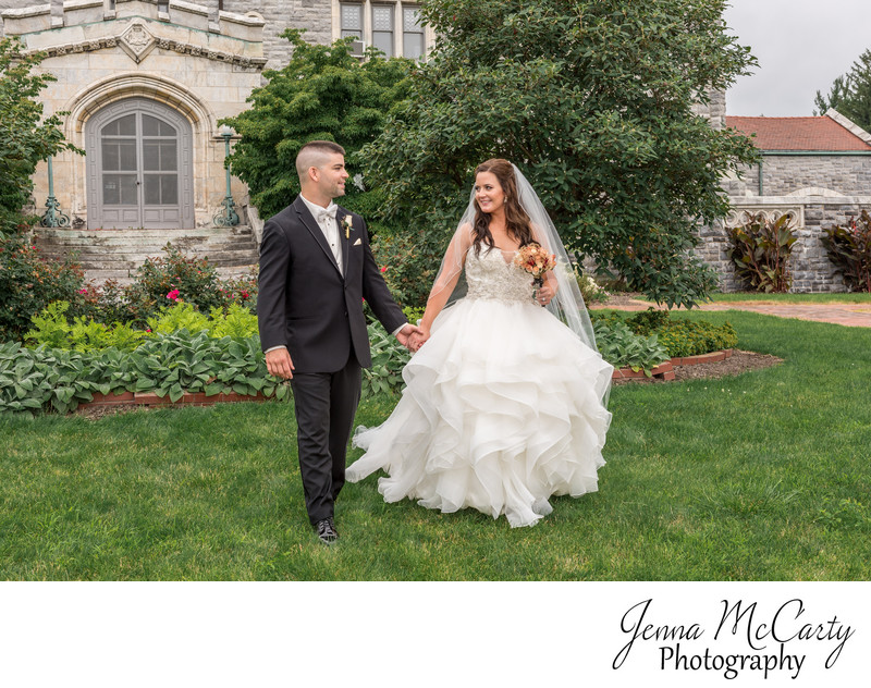 Bride and Groom at Glamorgan Castle in Alliance Ohio