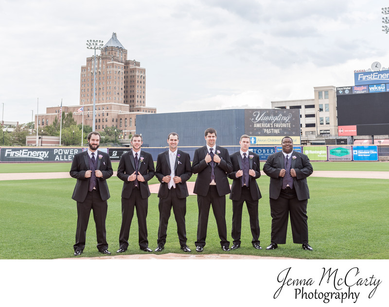 Groomsmen in Baseball Field in Canal Park in Akron Ohio