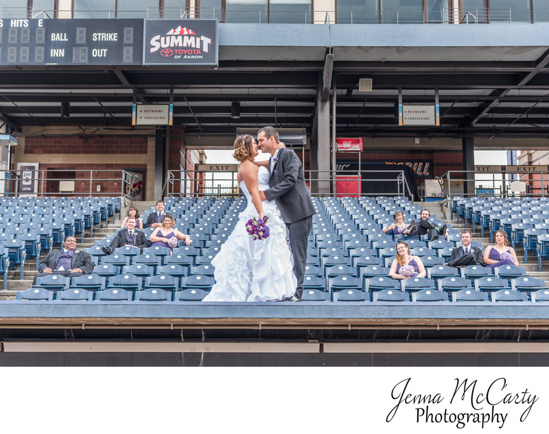 Bridal Party in the Stands at Canal Park in Akron Ohio