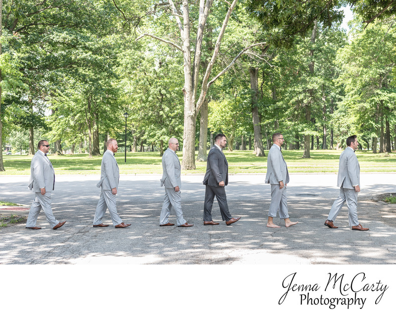 Groomsmen recreating Abbey Road in Youngstown Ohio