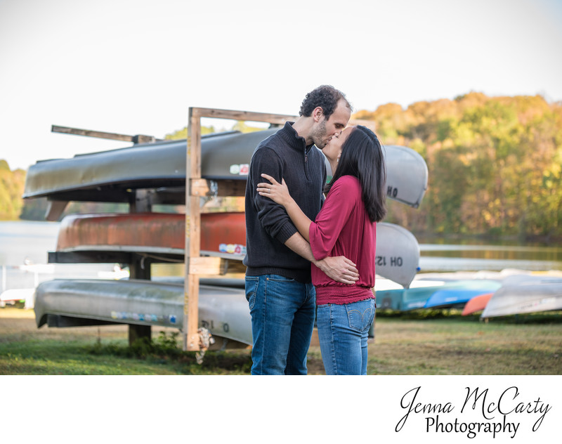 Engagement Session with Canoes in Hudson Springs Park