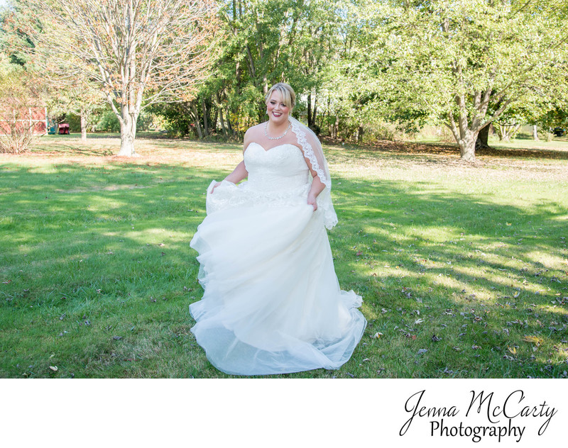 Bride twirling her bridal gown in Canton Ohio