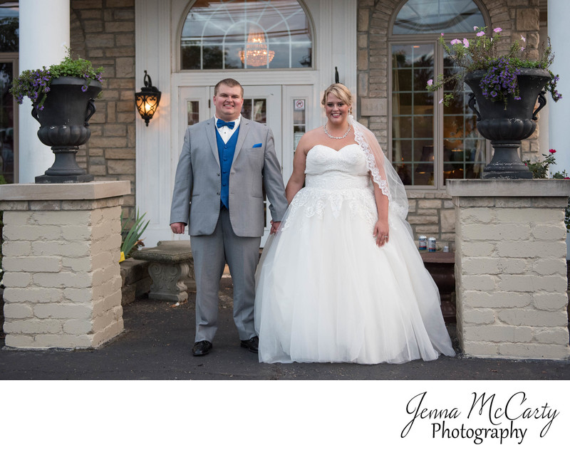 Bride and Groom in Front of Reception in Massillon Ohio