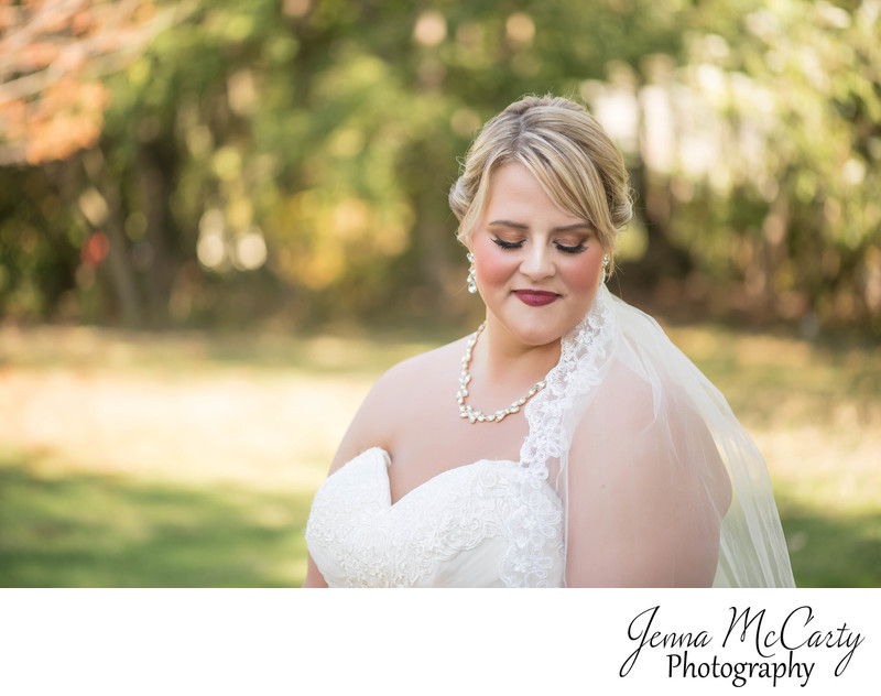 Bridal Portrait with Fall Colors in North Canton, Ohio