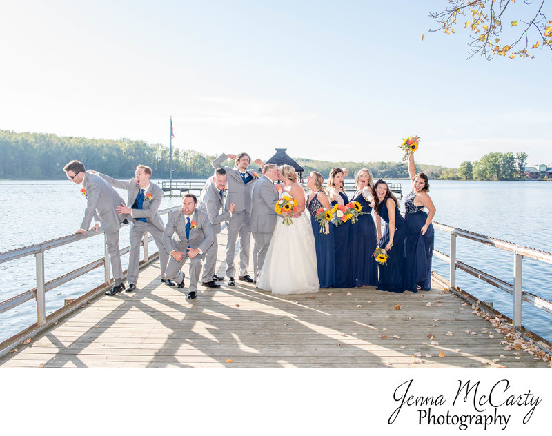 Bridal Party Celebrating on Dock in Canton, Ohio