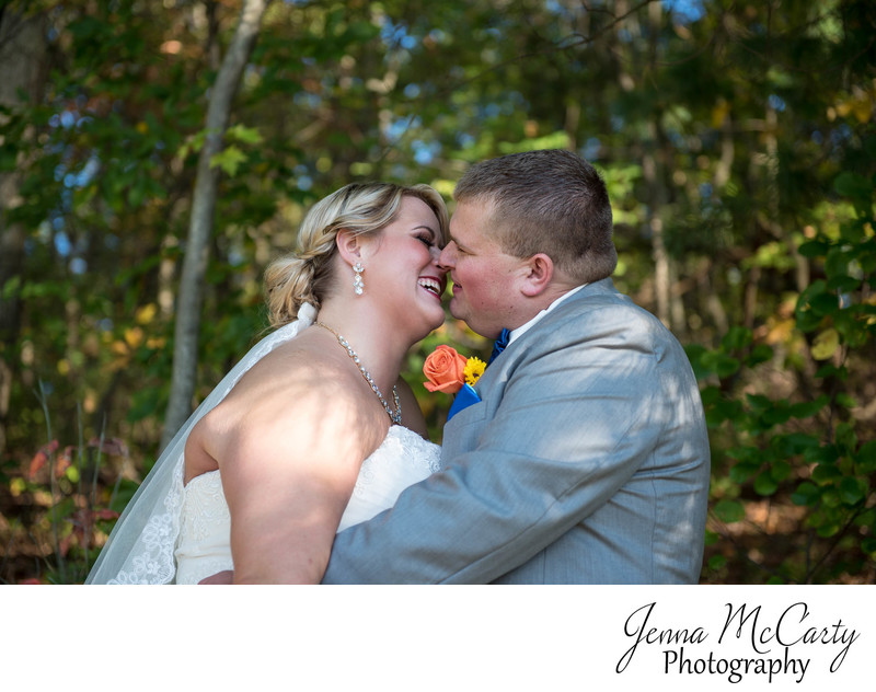 Almost Kissing during Fall Wedding Portraits in Canton
