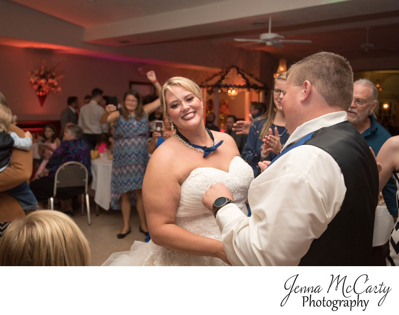 Bride wearing Bow Tie during Reception in Massillon OH