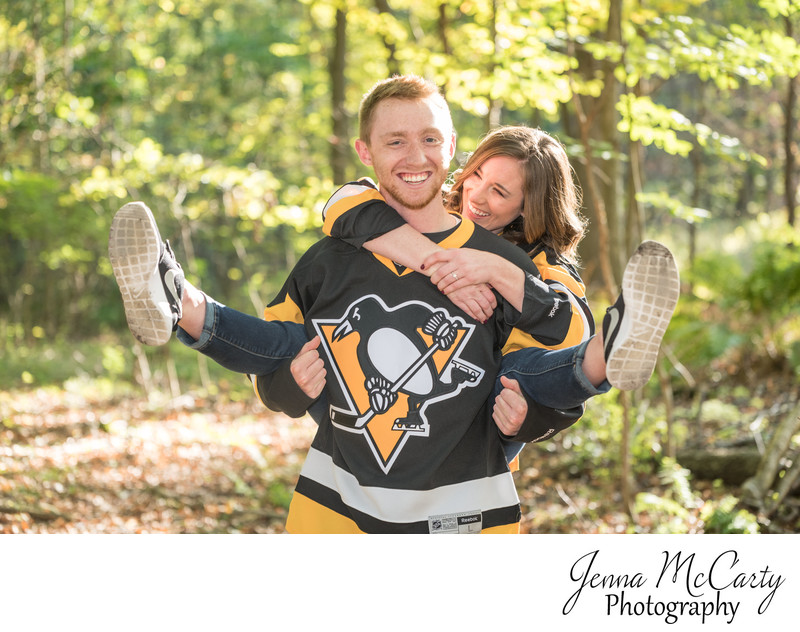 Pittsburgh penguins engagement session in grove city