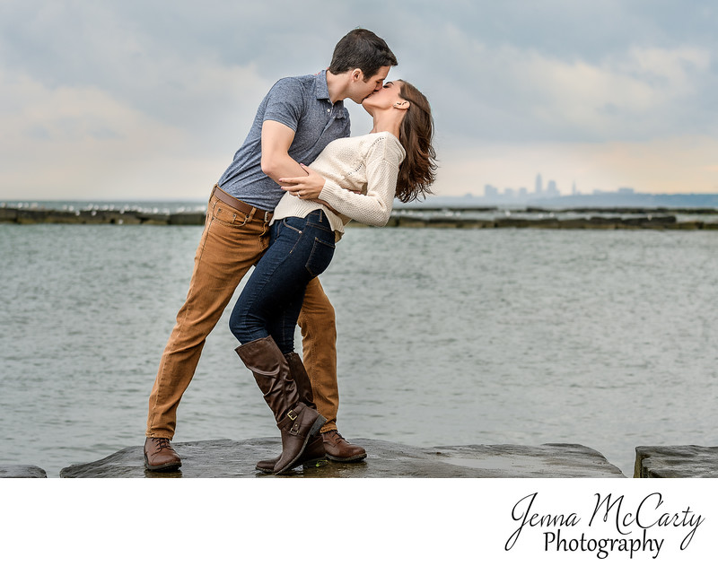 Engagement Session on Lake Erie with Cleveland